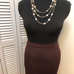 Textured Burgundy Pencil Skirt